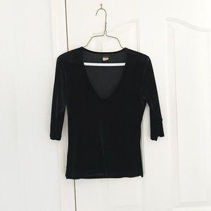 Shameless Black Velvet V-neck 3/4 Sleeve Top